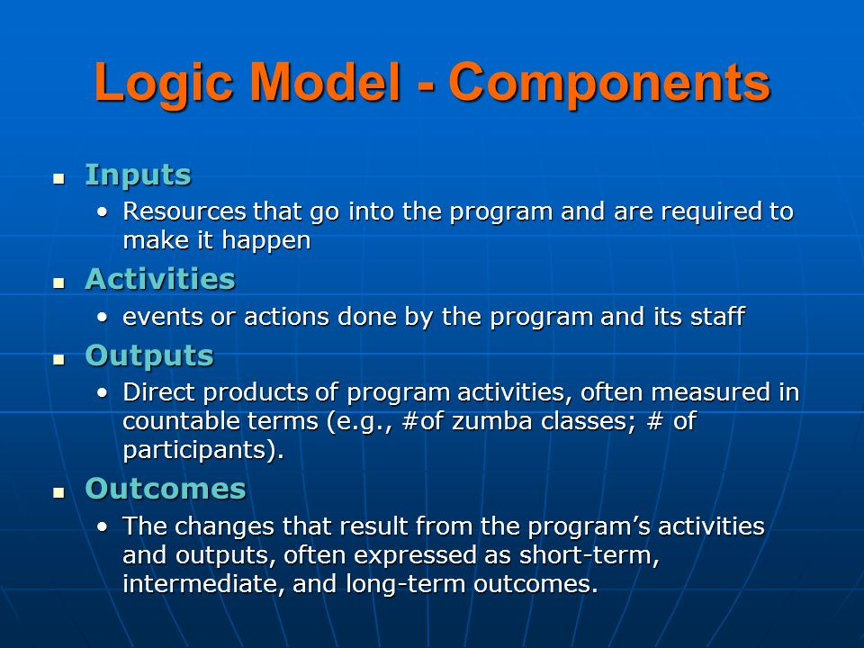 Logic Model - Components Inputs Inputs Resources that go into the program and are required to make it happenResources that go into the program and are