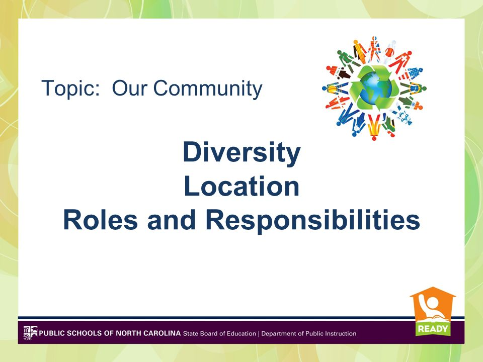 Diversity Location Roles and Responsibilities Topic: Our Community