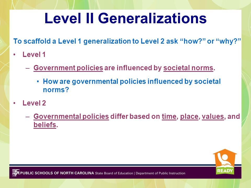 """Level II Generalizations To scaffold a Level 1 generalization to Level 2 ask """"how?"""" or """"why?"""" Level 1 –Government policies are influenced by societal"""