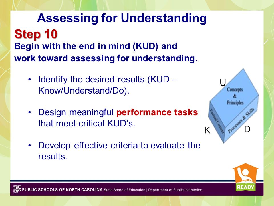 Begin with the end in mind (KUD) and work toward assessing for understanding. Identify the desired results (KUD – Know/Understand/Do). Design meaningf