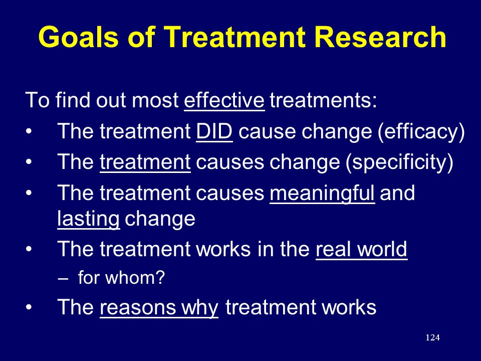 124 Goals of Treatment Research To find out most effective treatments: The treatment DID cause change (efficacy) The treatment causes change (specificity) The treatment causes meaningful and lasting change The treatment works in the real world –for whom.