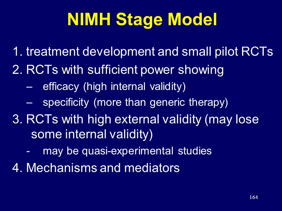 164 NIMH Stage Model 1.treatment development and small pilot RCTs 2.