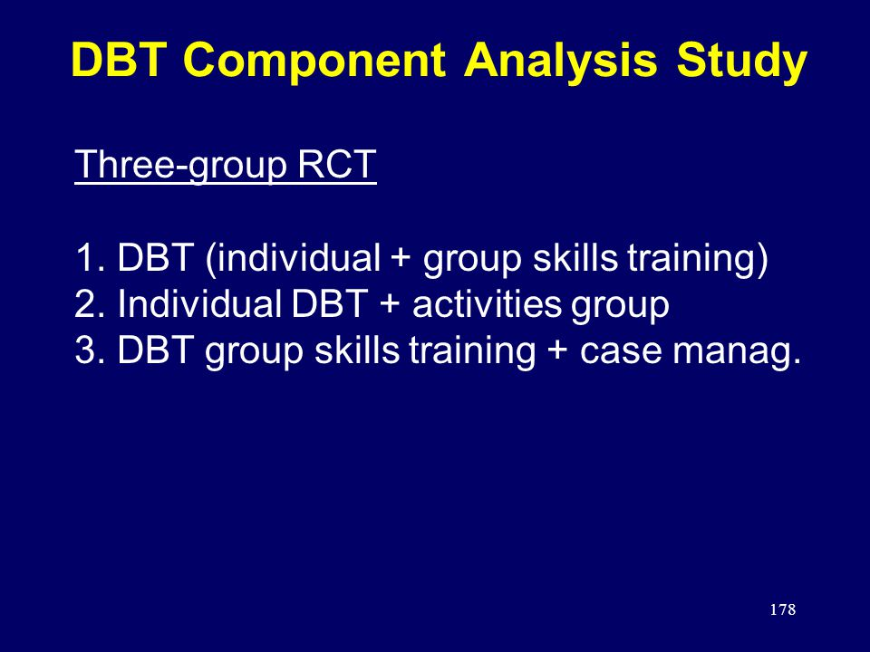 178 DBT Component Analysis Study Three-group RCT 1.