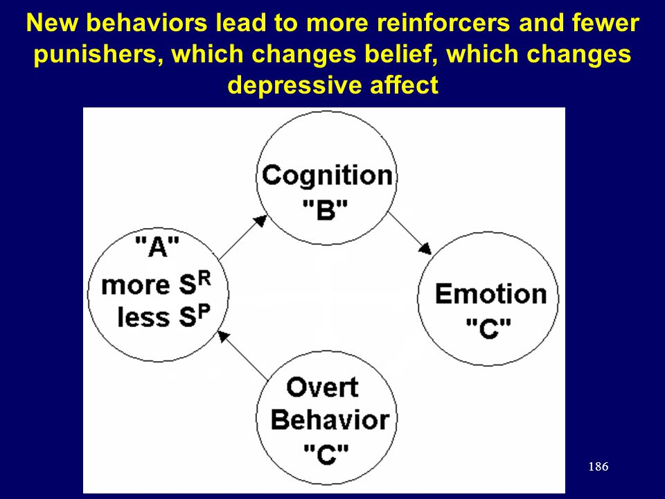 186 New behaviors lead to more reinforcers and fewer punishers, which changes belief, which changes depressive affect
