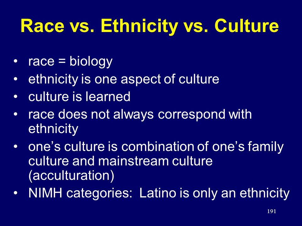 191 Race vs.Ethnicity vs.