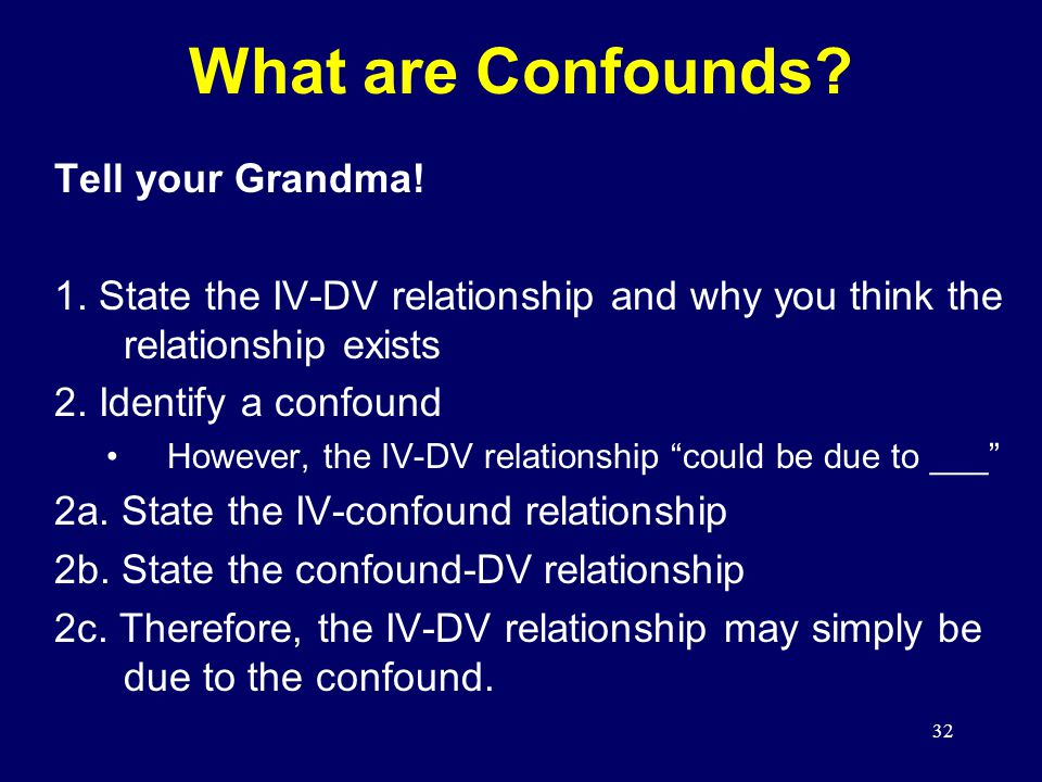 32 Tell your Grandma.1. State the IV-DV relationship and why you think the relationship exists 2.
