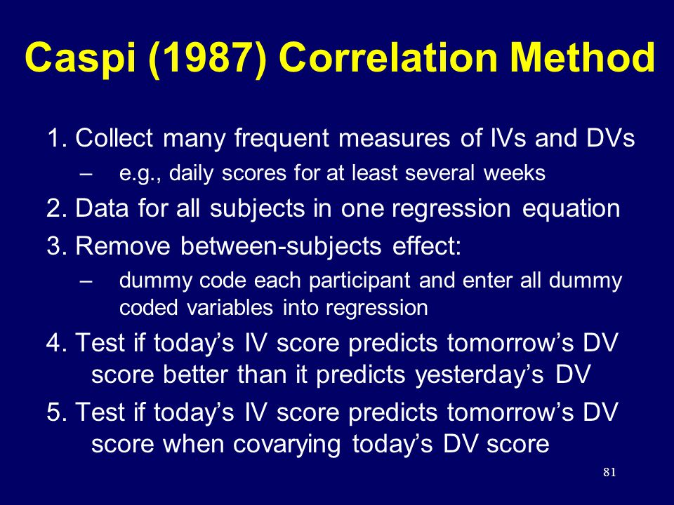 81 Caspi (1987) Correlation Method 1.