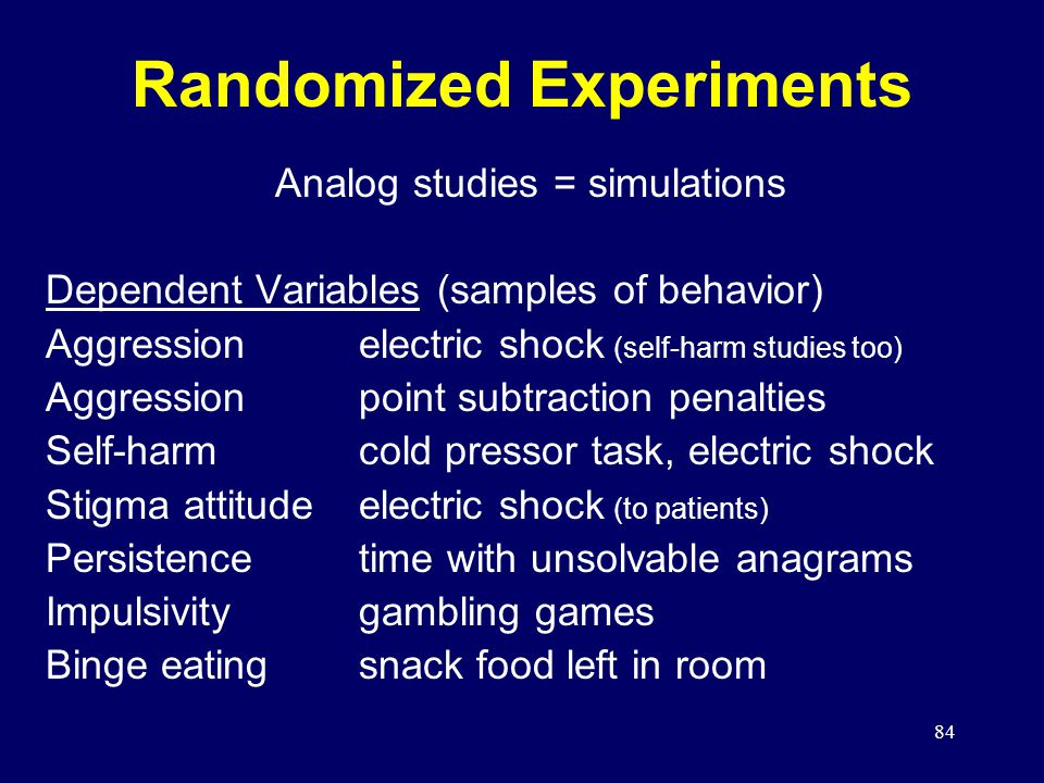 84 Randomized Experiments Analog studies = simulations Dependent Variables (samples of behavior) Aggressionelectric shock (self-harm studies too) Aggressionpoint subtraction penalties Self-harmcold pressor task, electric shock Stigma attitudeelectric shock (to patients) Persistencetime with unsolvable anagrams Impulsivitygambling games Binge eatingsnack food left in room