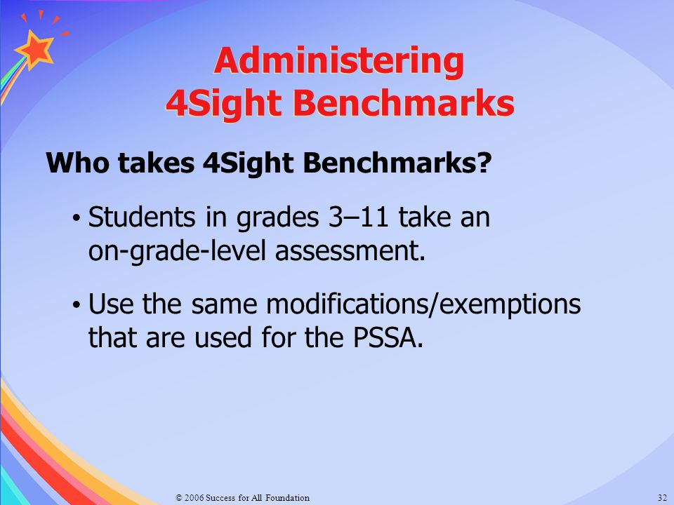 © 2006 Success for All Foundation32 Administering 4Sight Benchmarks Who takes 4Sight Benchmarks? Students in grades 3–11 take an on-grade-level assess