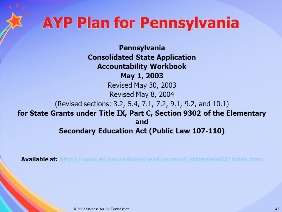 © 2006 Success for All Foundation47 AYP Plan for Pennsylvania Pennsylvania Consolidated State Application Accountability Workbook May 1, 2003 Revised