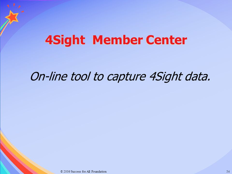 © 2006 Success for All Foundation54 4Sight Member Center On-line tool to capture 4Sight data.