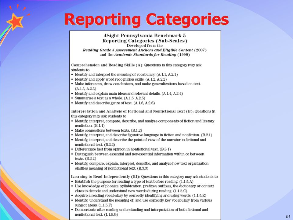 © 2006 Success for All Foundation85 Reporting Categories