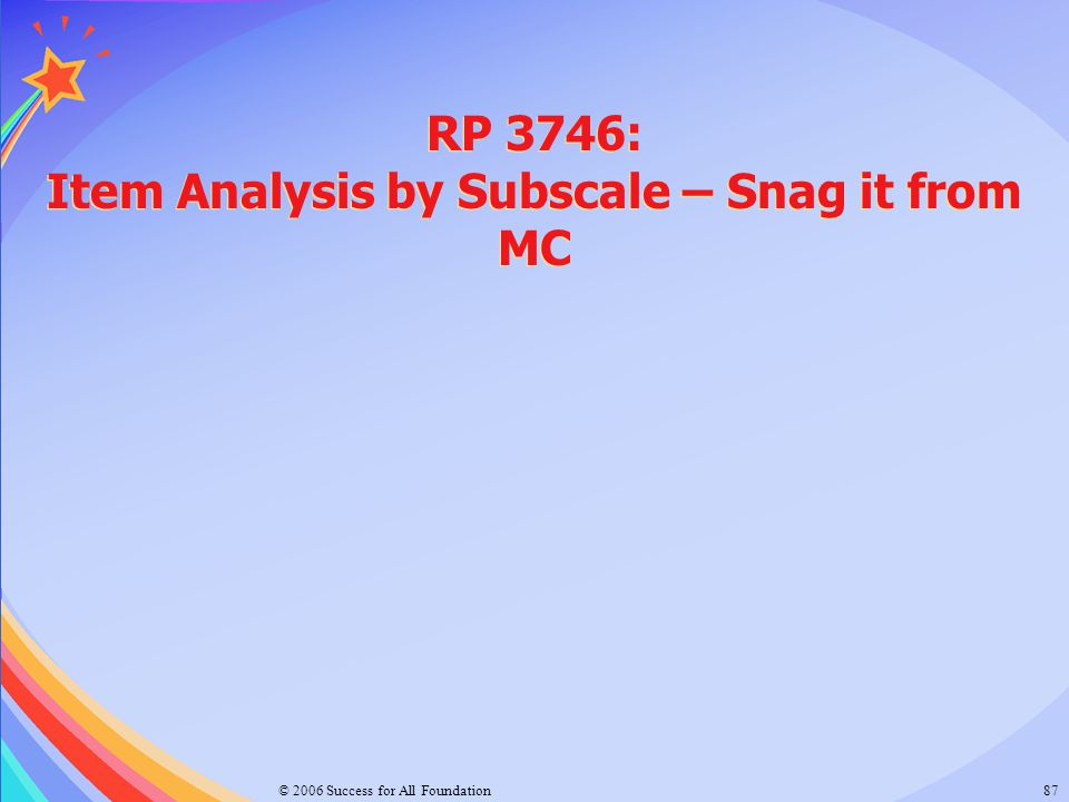 © 2006 Success for All Foundation87 RP 3746: Item Analysis by Subscale – Snag it from MC