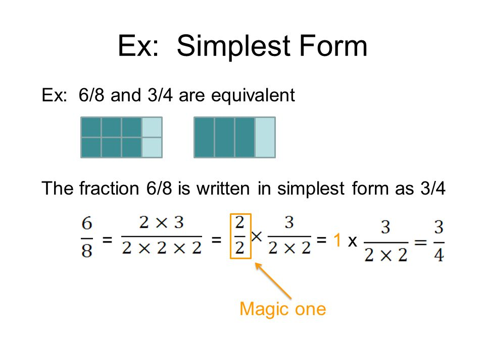 Ex: Simplest Form Ex: 6/8 and 3/4 are equivalent The fraction 6/8 is written in simplest form as 3/4 ===1 x Magic one