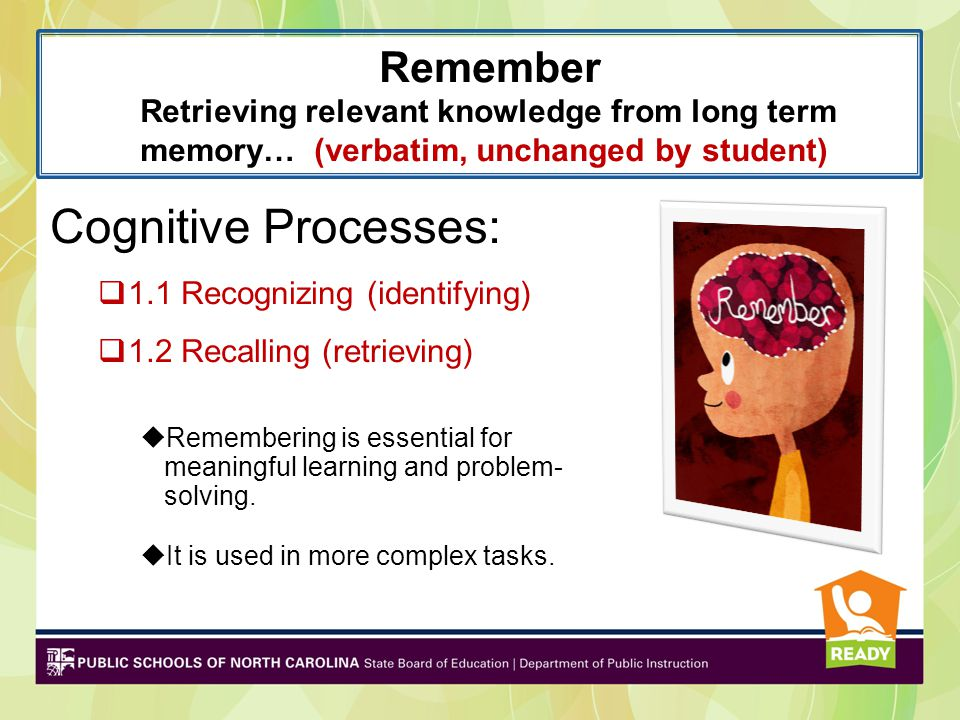 Remember Retrieving relevant knowledge from long term memory… (verbatim, unchanged by student) Cognitive Processes:  1.1 Recognizing (identifying) 