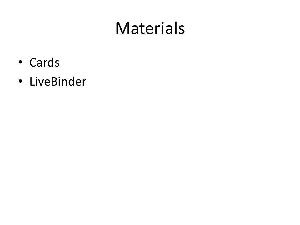 Materials Cards LiveBinder