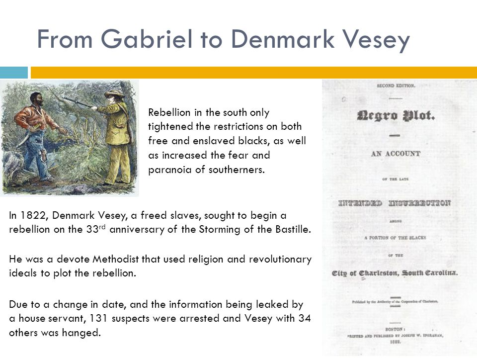 From Gabriel to Denmark Vesey Rebellion in the south only tightened the restrictions on both free and enslaved blacks, as well as increased the fear a