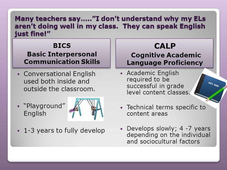 "Many teachers say…..""I don't understand why my ELs aren't doing well in my class. They can speak English just fine!"" BICS Basic Interpersonal Communic"