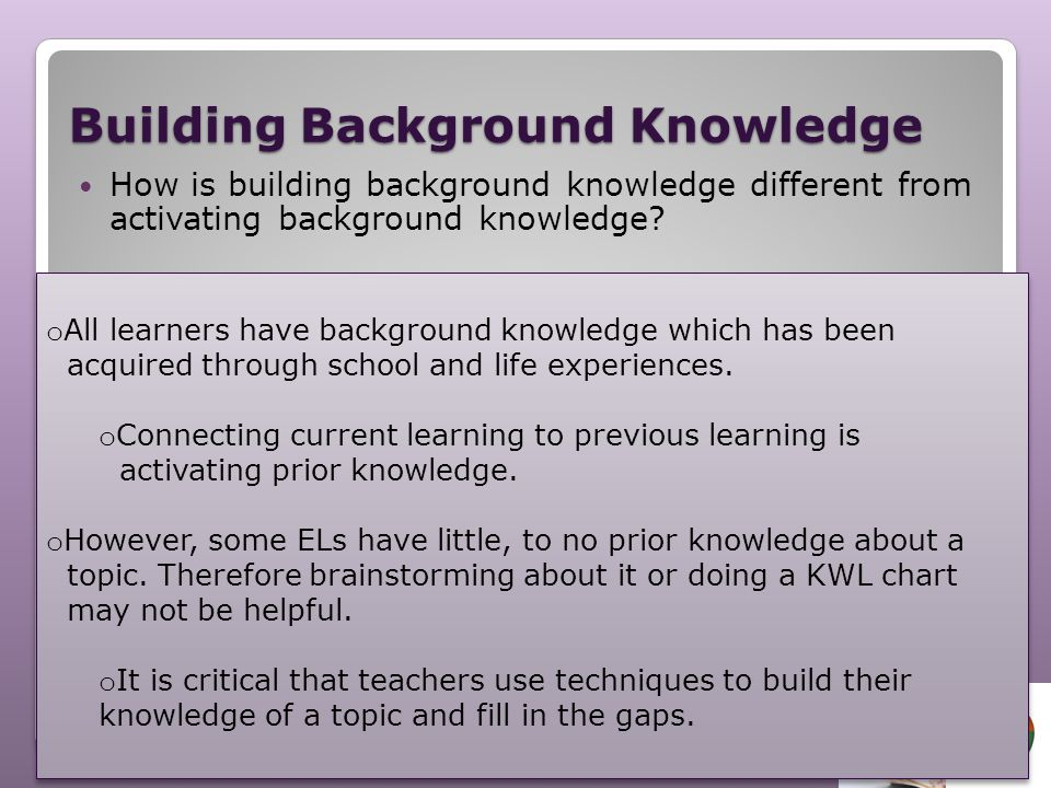 Building Background Knowledge How is building background knowledge different from activating background knowledge? TURN AND TALK using this sentence f