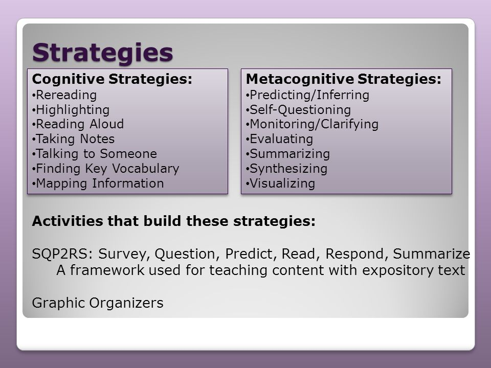 Strategies Activities that build these strategies: SQP2RS: Survey, Question, Predict, Read, Respond, Summarize A framework used for teaching content w