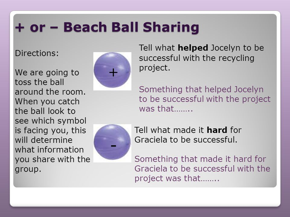 + or – Beach Ball Sharing Directions: We are going to toss the ball around the room. When you catch the ball look to see which symbol is facing you, t