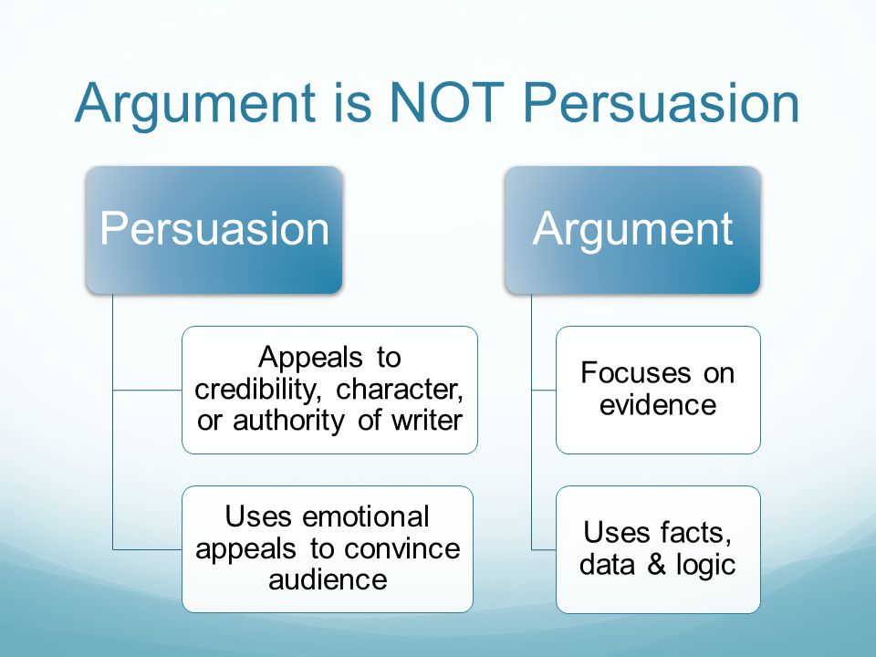 Argument is NOT Persuasion Persuasion Appeals to credibility, character, or authority of writer Uses emotional appeals to convince audience Argument Focuses on evidence Uses facts, data & logic