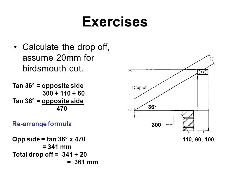 Exercises Calculate the drop off, assume 20mm for birdsmouth cut.