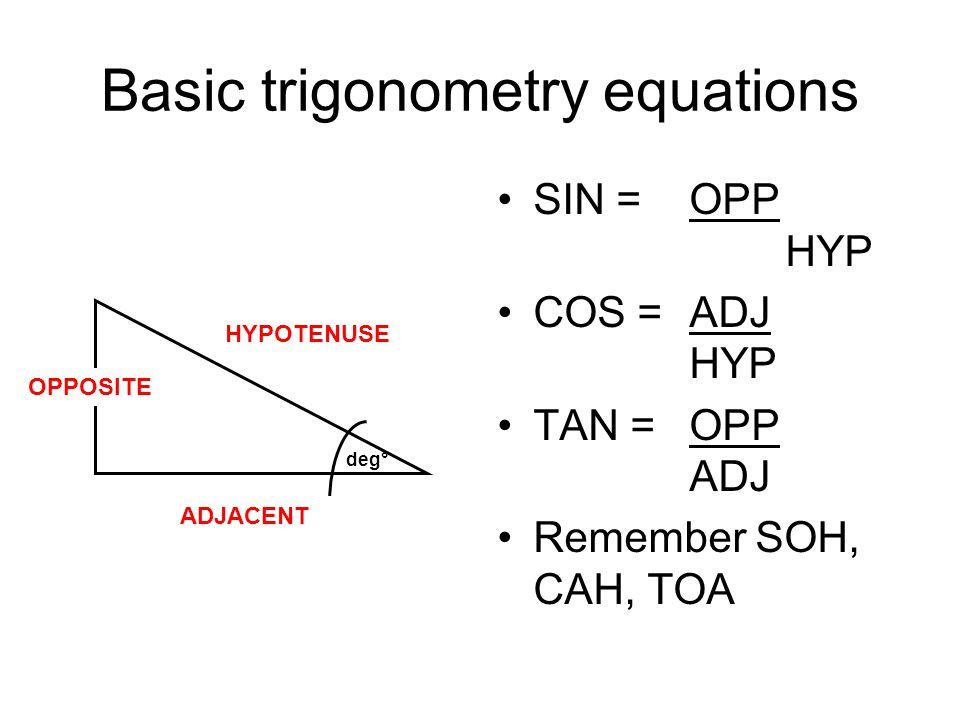Basic trigonometry equations SIN = OPP HYP COS =ADJ HYP TAN =OPP ADJ Remember SOH, CAH, TOA deg° OPPOSITE ADJACENT HYPOTENUSE