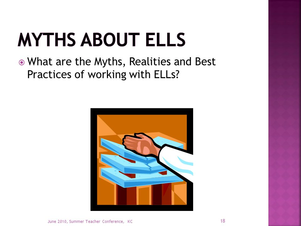  What are the Myths, Realities and Best Practices of working with ELLs.