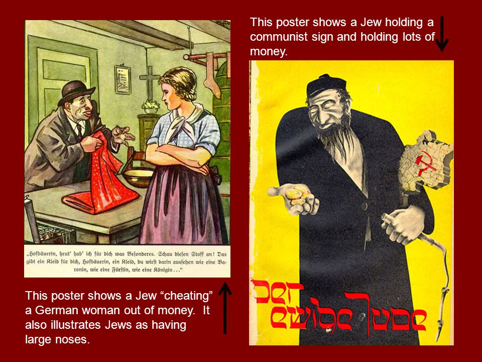 This poster shows a Jew cheating a German woman out of money.