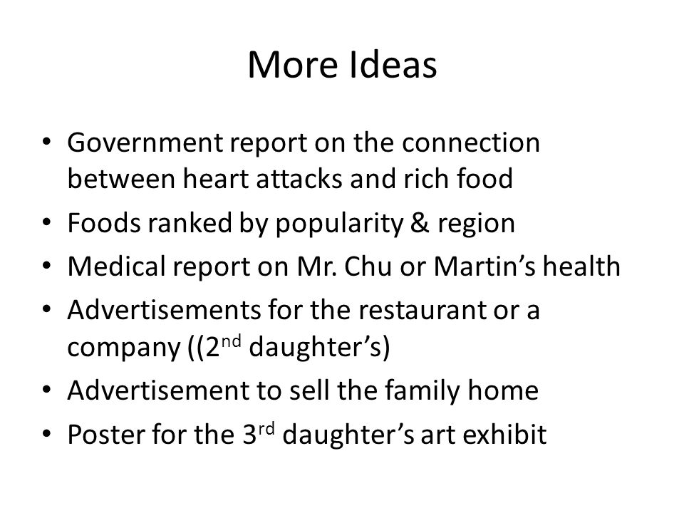 More Ideas Government report on the connection between heart attacks and rich food Foods ranked by popularity & region Medical report on Mr.