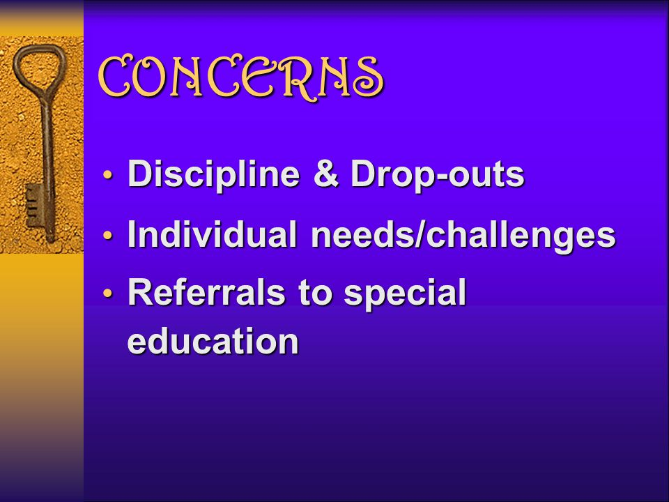 CONCERNS Discipline & Drop-outs Discipline & Drop-outs Individual needs/challenges Individual needs/challenges Referrals to special education Referrals to special education