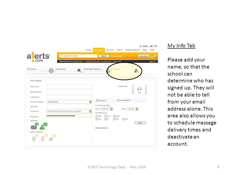 Message Delivery Tab Allows you to add or remove methods of delivery for all your alerts.