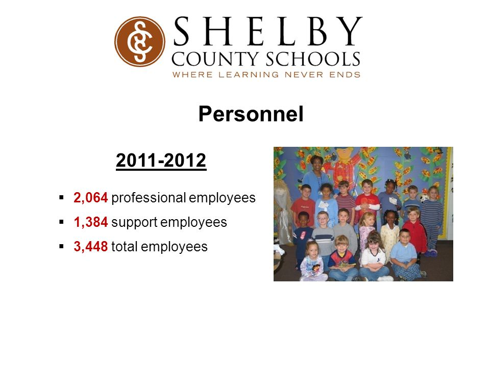 Personnel 2011-2012  2,064 professional employees  1,384 support employees  3,448 total employees