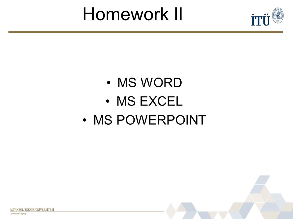 Homework II MS WORD MS EXCEL MS POWERPOINT