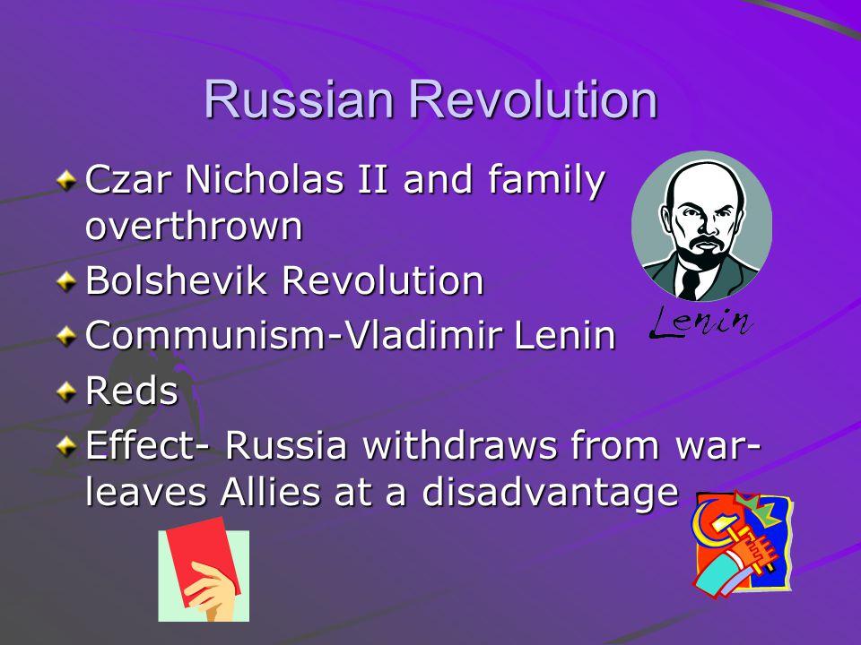 Russian Revolution Czar Nicholas II and family overthrown Bolshevik Revolution Communism-Vladimir Lenin Reds Effect- Russia withdraws from war- leaves