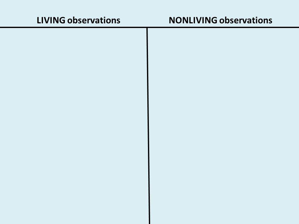 LIVING observationsNONLIVING observations