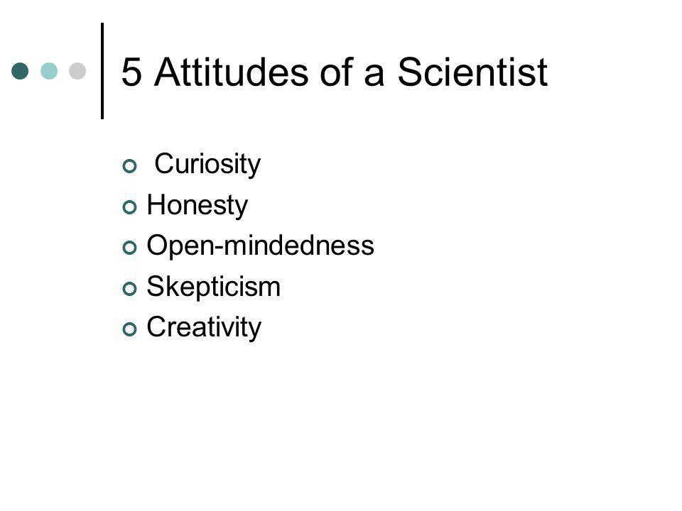 5 Attitudes of a Scientist Curiosity Honesty Open-mindedness Skepticism Creativity