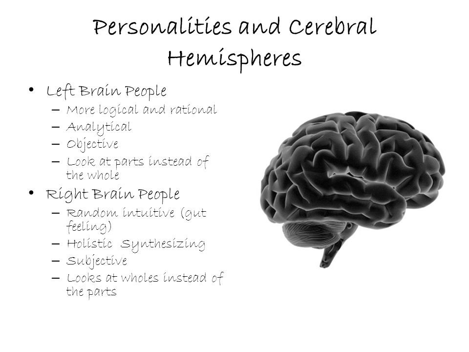 Personalities and Cerebral Hemispheres Left Brain People – More logical and rational – Analytical – Objective – Look at parts instead of the whole Right Brain People – Random intuitive (gut feeling) – Holistic Synthesizing – Subjective – Looks at wholes instead of the parts