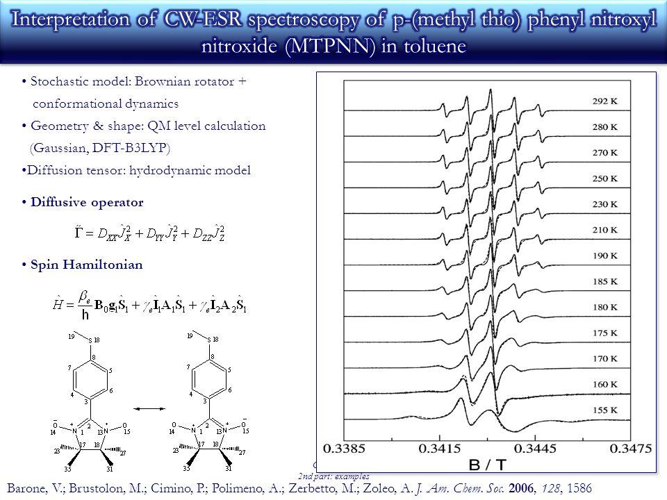Girse 2009 2nd part: examples Barone, V.; Brustolon, M.; Cimino, P.; Polimeno, A.; Zerbetto, M.; Zoleo, A.