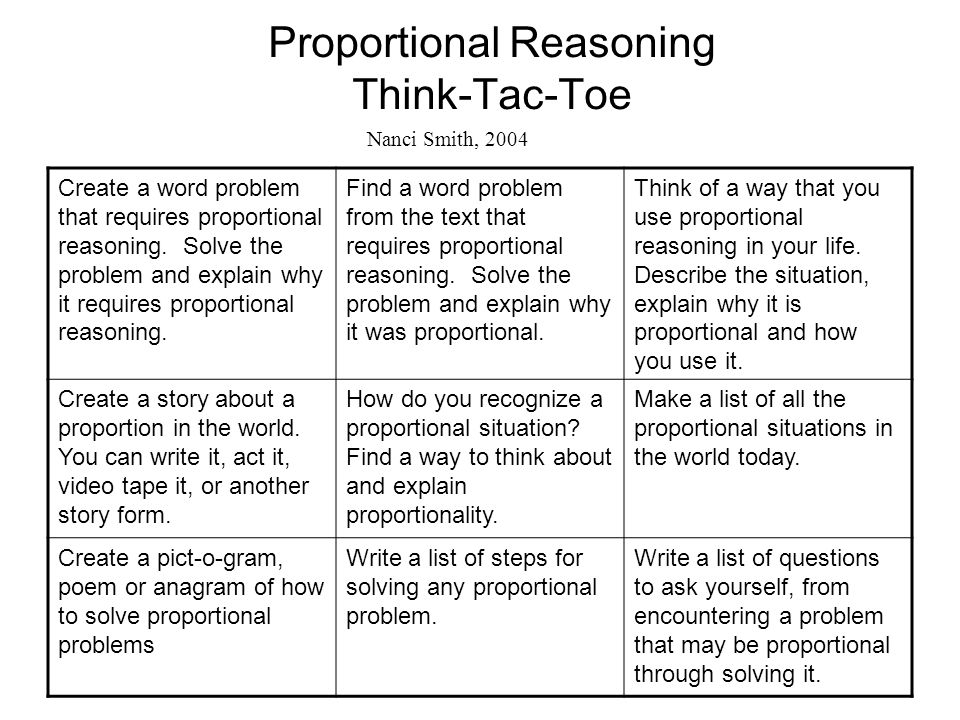 Proportional Reasoning Think-Tac-Toe Create a word problem that requires proportional reasoning. Solve the problem and explain why it requires proport