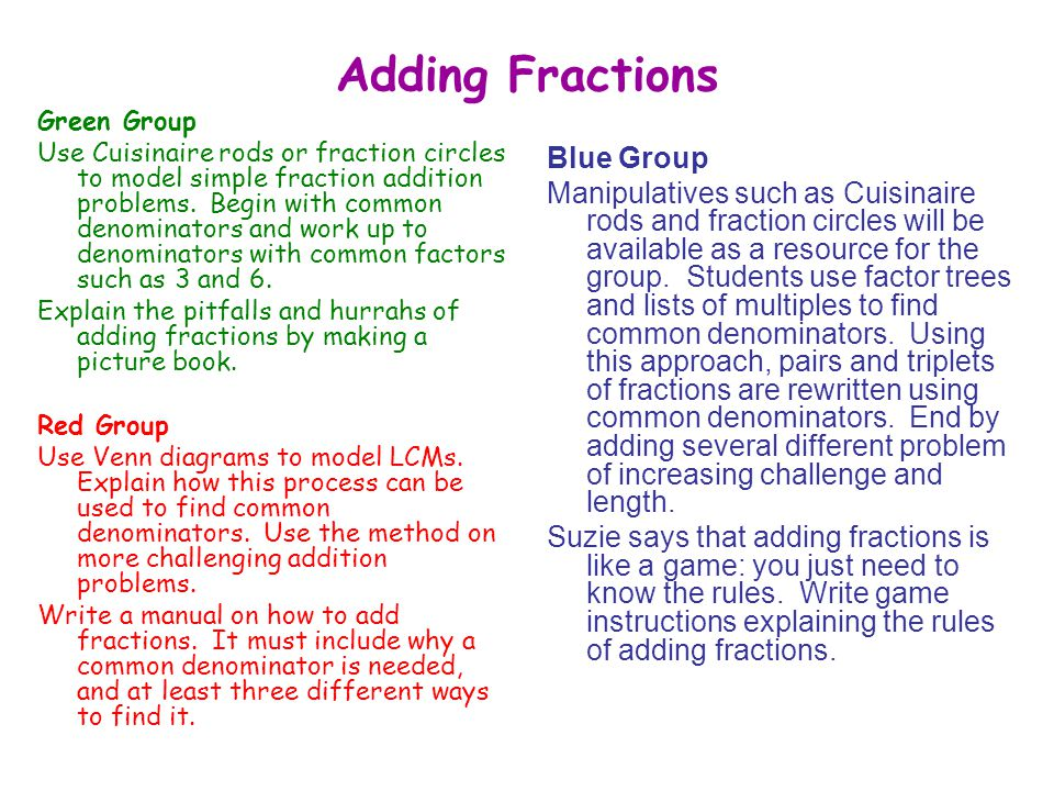 Adding Fractions Green Group Use Cuisinaire rods or fraction circles to model simple fraction addition problems.