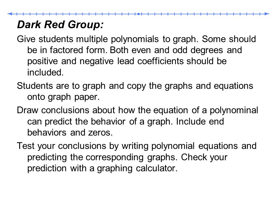 Dark Red Group: Give students multiple polynomials to graph. Some should be in factored form. Both even and odd degrees and positive and negative lead