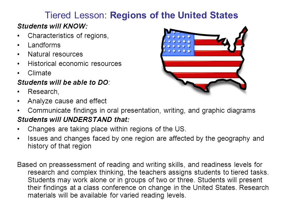 Tiered Lesson: Regions of the United States Students will KNOW: Characteristics of regions, Landforms Natural resources Historical economic resources Climate Students will be able to DO: Research, Analyze cause and effect Communicate findings in oral presentation, writing, and graphic diagrams Students will UNDERSTAND that: Changes are taking place within regions of the US.