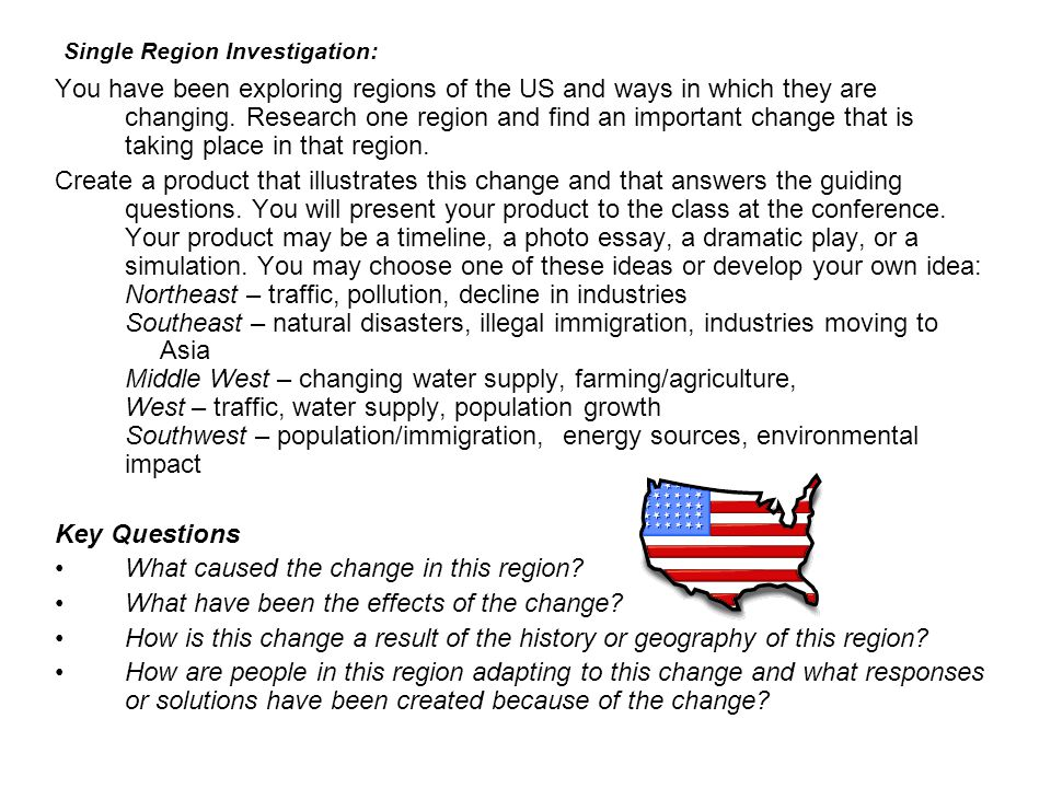 Single Region Investigation: You have been exploring regions of the US and ways in which they are changing. Research one region and find an important