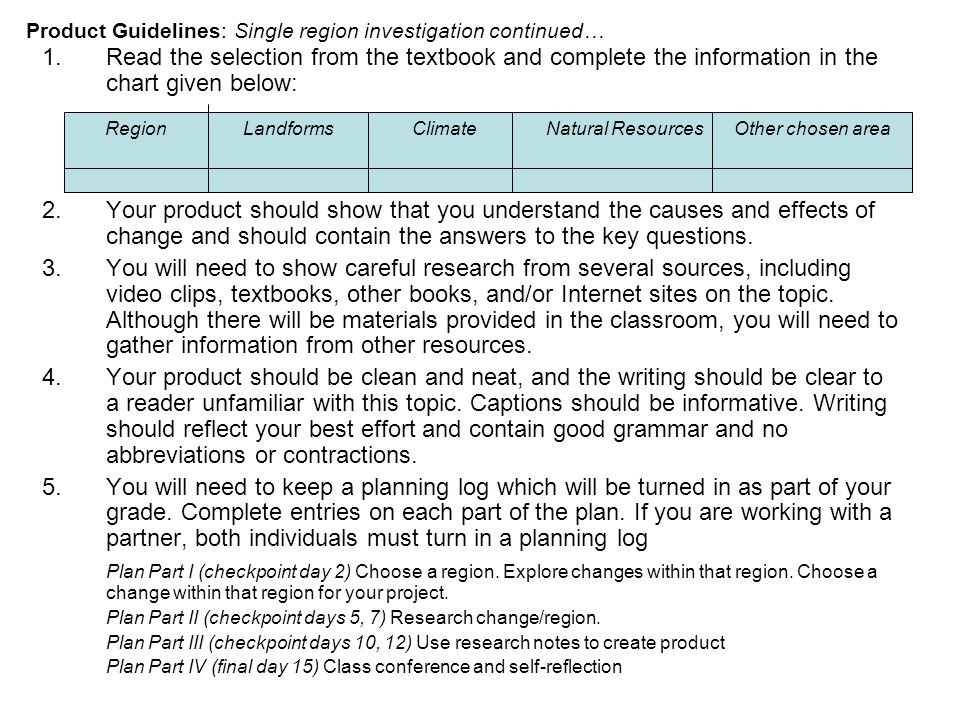 Product Guidelines: Single region investigation continued… 1.Read the selection from the textbook and complete the information in the chart given below: 2.Your product should show that you understand the causes and effects of change and should contain the answers to the key questions.