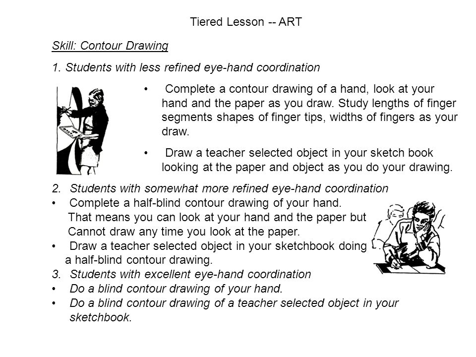 Tiered Lesson -- ART Skill: Contour Drawing 1.