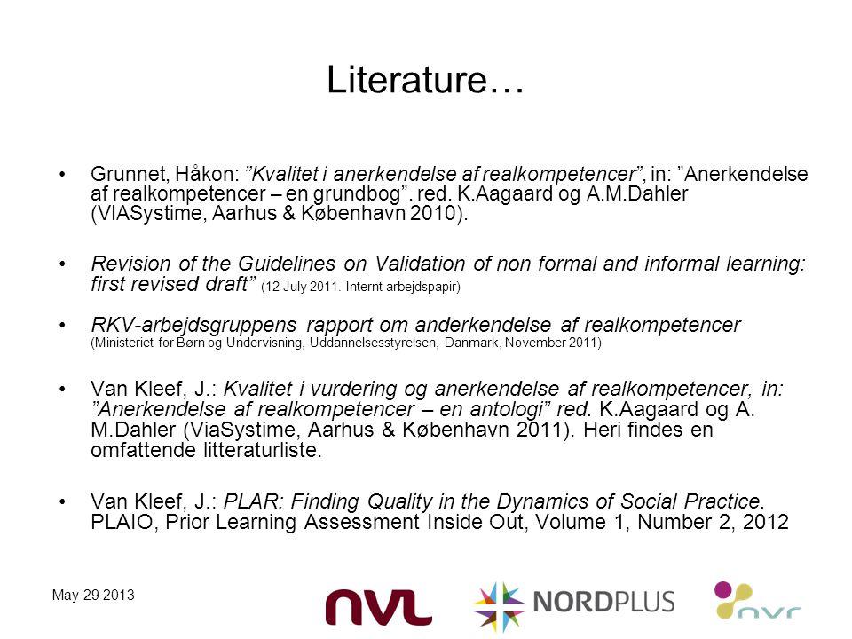 Literature… Grunnet, Håkon: Kvalitet i anerkendelse af realkompetencer , in: Anerkendelse af realkompetencer – en grundbog .