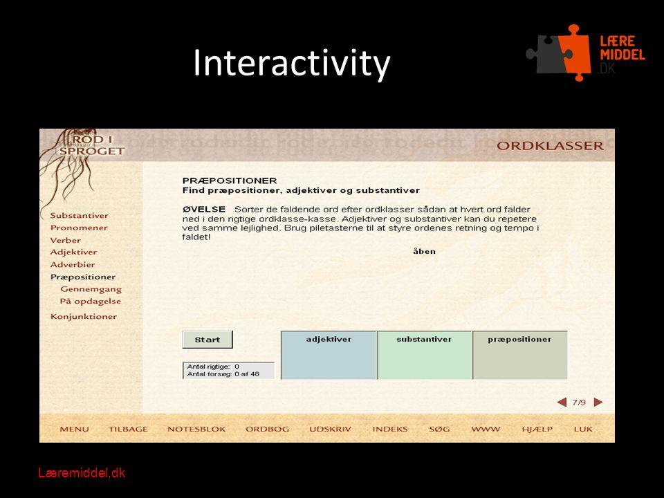 Læremiddel.dk Nationalt videncenter for læremidler Interactivity