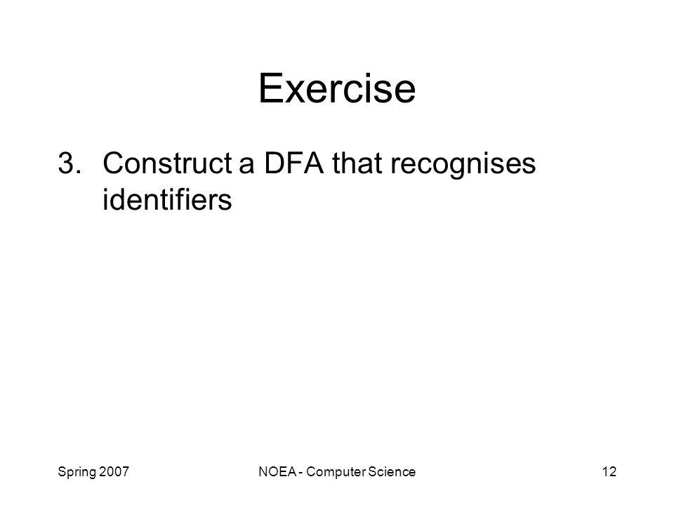 Spring 2007NOEA - Computer Science12 Exercise 3.Construct a DFA that recognises identifiers